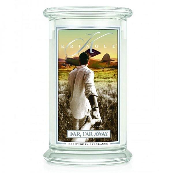 Świeca duża od Kringle Candle, prezent, świeca zapachowa, prezent, upominek, świeczki, zapachy, aromaty, far far away, męski zapach, męski perfum, perfumy, relaks, odpoczynek, męski, gentelmen, prezent dla pana, prezent dla pani