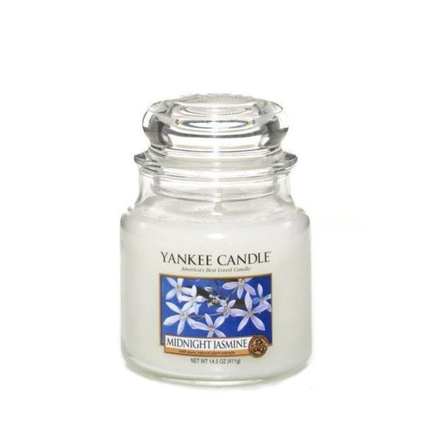 Średnia świeca zapachowa od Yankee Candle, biała w szklanym słoiku o zapachu Midnight jasmine. Jaśmin, nocny jaśmin, kwiaty, elegancki zapach, perfumy, perfumy kobiece, prezent,, prezent dla pani, na uspokojenie, zapach, świeca zapachowa, biała,