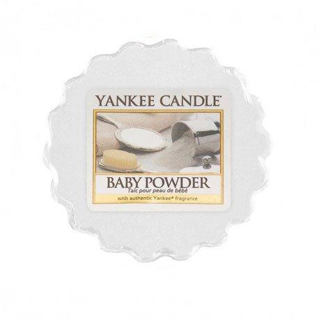 wosk od yankee candle, biała w szklanym słoiku o zapachu baby powder. puder dla dzieci, delikatny zapach, relaks, odpoczynek, uspokojenie, świeca zapachowa, świeca, wosk, prezent, migdały N, nuty kwiatowo-pudrowe : piżmo, kumaryna, upominek, drobny prezent