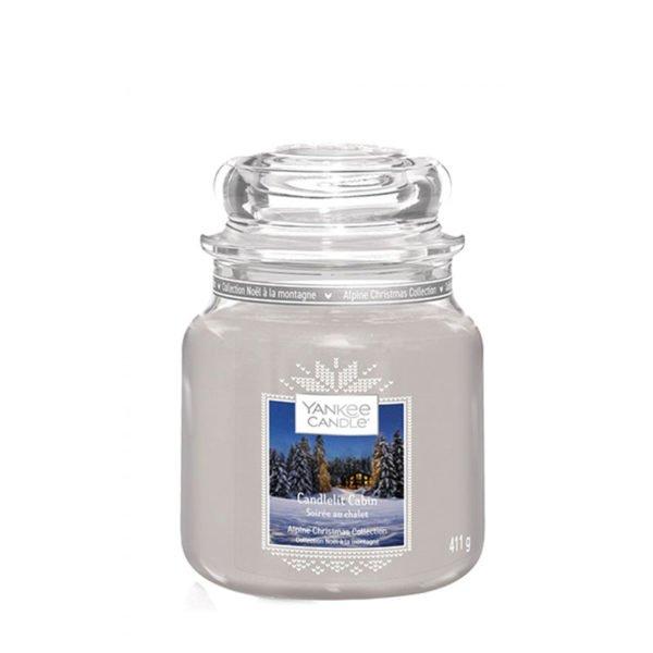 Średnia swieca zapachowa od Yankee Candle, szara srebrna w szklanym słoiku o zapachu Candlelite Cabin. Srebrna, szara, świeca, świeca zapachowa, wosk, zapachy, paczula, drzewo, pieprz, orchidea, święta, drewniany domek, prezent, prezent dla niego, męskie perfumy sosna, las,prezent