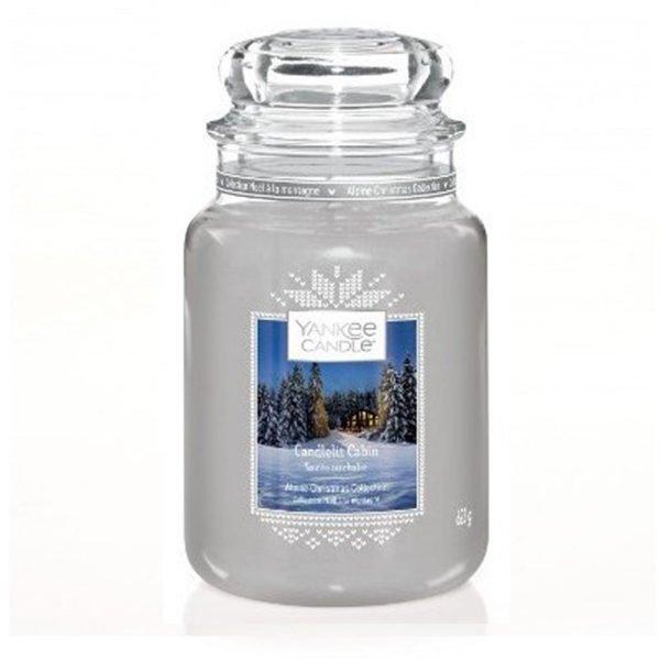 Duża swieca zapachowa od Yankee Candle, szara srebrna w szklanym słoiku o zapachu Candlelite Cabin. Srebrna, szara, świeca, świeca zapachowa, wosk, zapachy, paczula, drzewo, pieprz, orchidea, święta, drewniany domek, prezent, prezent dla niego, męskie perfumy sosna, las,prezent