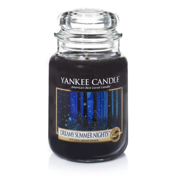 Duża świeca zapachowa od Yankee Candle, czarna o zapachu Dreamy summer night. Słoik, szklany słoik, czarny, czarne, świeca zapachowa, świeca, wosk, piżmo, las, drewno,cukier, cukier waniliowy, noc, nocne powietrze, magia, prezent