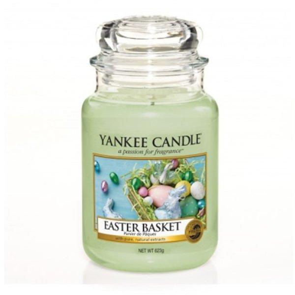Duża świeca zapachowa od Yankee Candle, zielona o zapachu Easter Basket. Trawa, cytrusy, słodkie, jajeczka, świeca zapachowa, świeca, wosk, wosk zapachowy, wiosna, wielkanoc, prezent, króliczki, kurczaczki