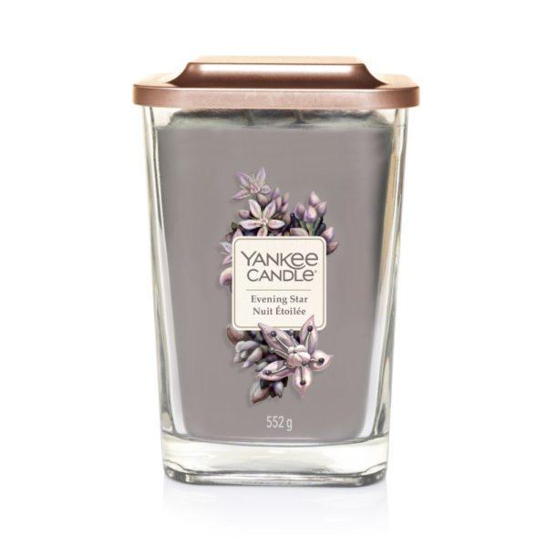 Duża świeca zapachowa od Yankee Candle, szara w szklanym słoiku o zapachu Evening star. Yankee Candle elevation, świeca, świeca zapachowa, swieca sojowa, wosko sojowy, zapachy, prezent, prezent na imieniny, prezent na urodziny, cytryna, jałowiec , olejek YlangYlang, róża , drzewo gwajkowe, pudrowe piżmo