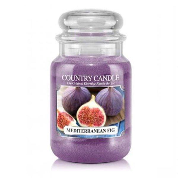 Świeca duża od Country Candle, prezent, świeca zapachowa, urokliwy zapach, wosk, wosk zapachowy, prezent, upominek, fioletowa, figi, piżmo, bursztyn, słodkie,