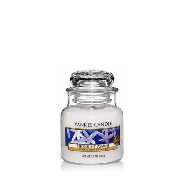 Mała świeca zapachowa od Yankee Candle, biała w szklanym słoiku o zapachu Midnight jasmine. Jaśmin, nocny jaśmin, kwiaty, elegancki zapach, perfumy, perfumy kobiece, prezent,, prezent dla pani, na uspokojenie, zapach, świeca zapachowa, biała,