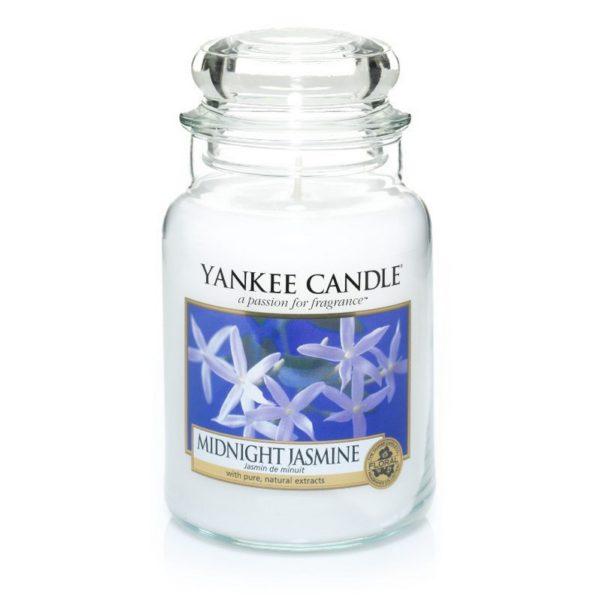 Duża świeca zapachowa od Yankee Candle, biała w szklanym słoiku o zapachu Midnight jasmine. Jaśmin, nocny jaśmin, kwiaty, elegancki zapach, perfumy, perfumy kobiece, prezent,, prezent dla pani, na uspokojenie, zapach, świeca zapachowa, biała,