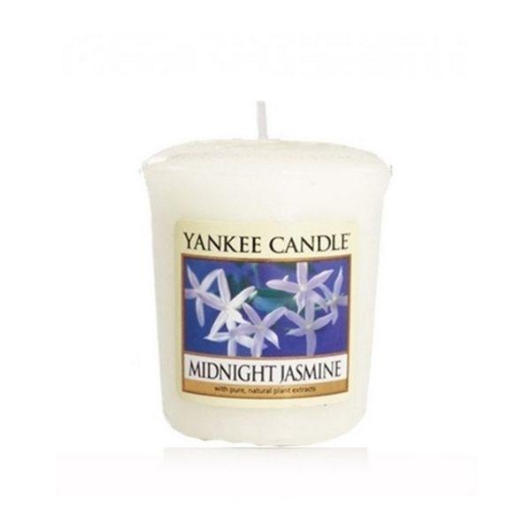 votive od Yankee Candle, biała w szklanym słoiku o zapachu Midnight jasmine. Jaśmin, nocny jaśmin, kwiaty, elegancki zapach, perfumy, perfumy kobiece, prezent,, prezent dla pani, na uspokojenie, zapach, świeca zapachowa, biała, mała świeczka, prezent, upominek
