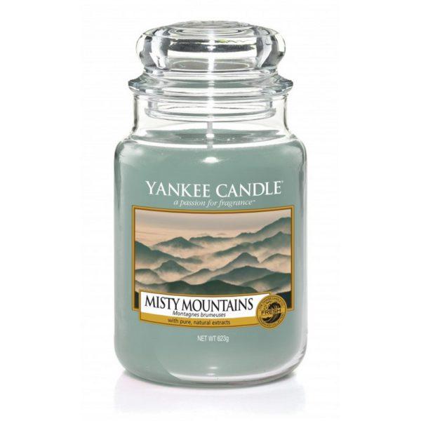Duża świeca zapachowa od Yankee Candle, szra - niebieska w szklanym słoiku o zapachy Misty Mountains. Tajemniczy, zapach, świeca zapachowa, góry, relaks, odpoczynek, świeca, mgła, iglaki, rosa, sosna, zapach męski, prezent