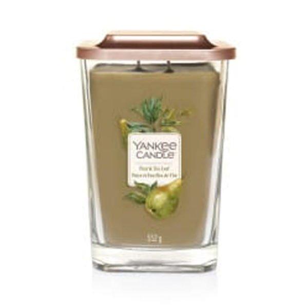 Duża świeca zapachowa od Yankee Candle, zielona w szklanym słoiku o zapachu Pear Tea Leaf. zielona, świeca, świeca zapachowa, wosk sojowy, wosk, zapachy, prezent, lato, wiosna, jesień, zima, prezent na imieniny, prezent na urodziny, gruszka, owoce, herbata