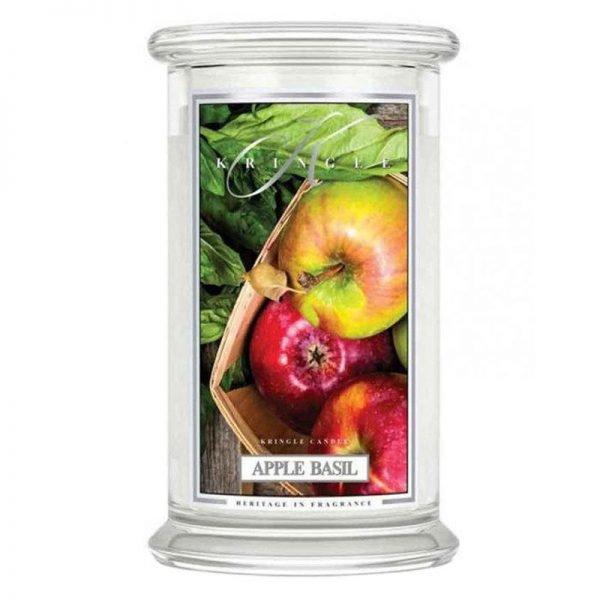 Świeca duża od Kringle Candle, prezent, świeca zapachowa, prezent, upominek, świeczki, zapachy, aromaty, bazylia, jabłka, relaks, odpoczynek, świeca zapachowa, prezent