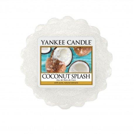 wosk od Yankee Candle, biała w szklanym słoiku o zapachu coconut splash. Woda kokosowa, kokos, białe, świeże, świeżość, orzeźwienie, woda, cytrusy, mleczko, migdały, lato, wiosna, wakacje, relaks