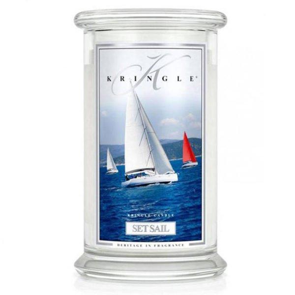 Świeca duża od Country Candle, prezent, świeca zapachowa, urokliwy zapach, wosk, wosk zapachowy, prezent, upominek, piżmo, morze, morskie nuty, nuty drzewne, cedr, drzewo sandałowe, żaglówka, statek