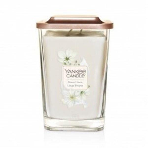 duża świeca zapachowa od Yankee Candle, biała o zapachu sheer linen. czysta pościel, len, kwiaty, zapachy,świeca zapachowa, świeca, czystość, prezent, yankee elevation, wosk sojowy
