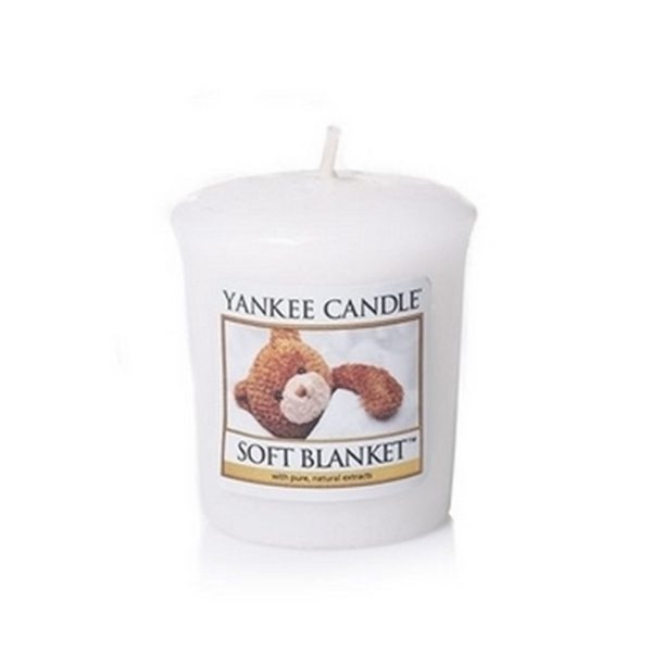 votive od Yankee Candle, biała o zapachu Soft Blanket. Misiu, biała, świeca zapachowa, kocyk, miła, prezent., upominek, mała świeczka
