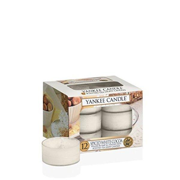 Tealight od Yankee Candle, o zapachu Spiced White Cocoa. smaczne, słodkie, zima, święta, słodycze, słodkości, zapach, świece zapachowe, świeczuszki, prezent