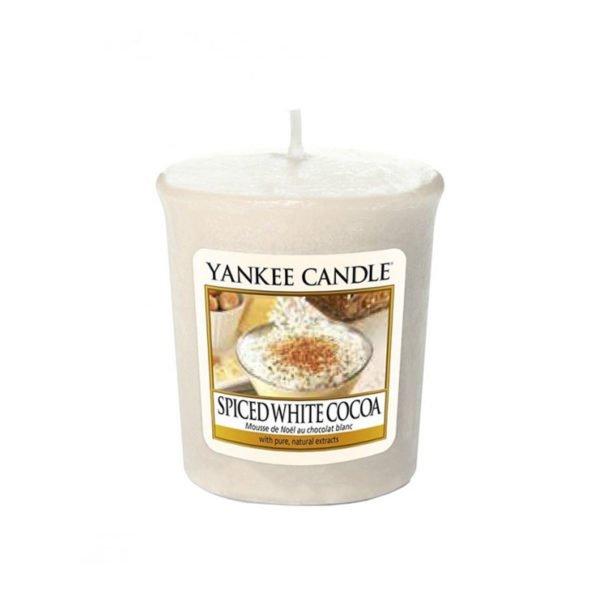 votive od Yankee Candle, o zapachu Spiced White Cocoa. smaczne, słodkie, zima, święta, słodycze, słodkości, zapach, świece zapachowe, świeczuszki, prezent, upominek mała świeczka