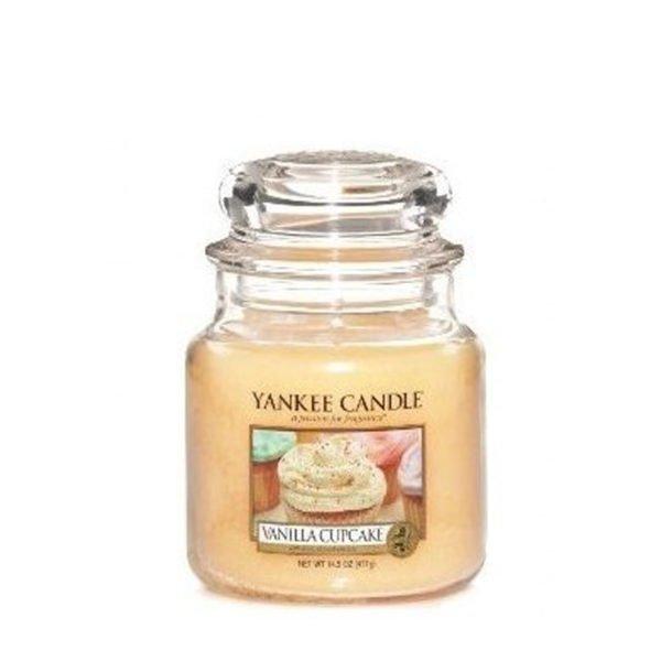 Średnia świeca od Yankee Candle, żółta Vanilla Cupcake. Babeczka, wanilia, zapachy, świeca zapachowa, słodkie, ciastka, zapachy, cukier, relaks, lukier, smaczne,, domowe wypieki,