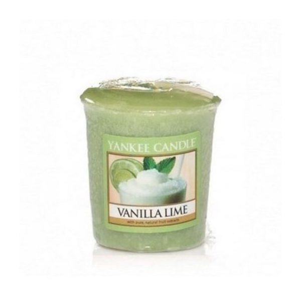 votive od Yankee Candle, zielona o zapachu Vanilla & Lime. Wanilia, limonka, mohitto, drink, lato, odświeżenie, orzeźwienie, świeca zapachowa, mała świeczka, drobiazg, upominek, prezent