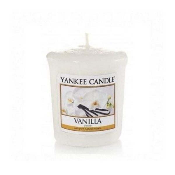 votive od Yankee candle, beżowa o zapachu wanilii. Vanilla, wanilia, spa, relaks, słodkie, delikatne, świeca zapachowa, mała swieczka, prezent, upominek