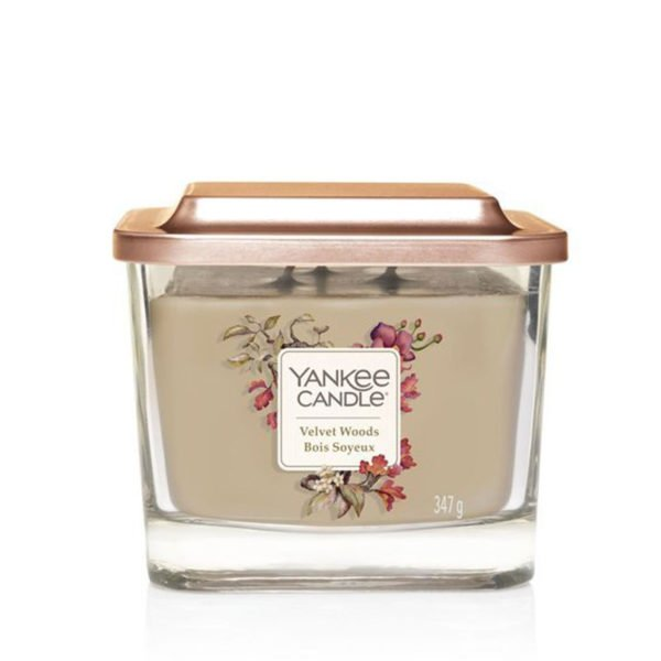 średnia świeca sojowa od Yankee Candle akordy aksamitu, kwiat tytoniu, jeżyna, orchidea, drzewo hebanowe, bursztyn, prezent, upominek, tropikalny las, kwiaty, bukiet