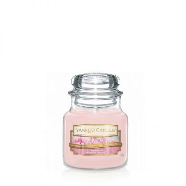 mała świeca zapachowa od Yankee Candle, różowa w szklanym słoiku o zapachu Blush Bouquet. Różowa, zapachy, świeca, świeca zapachowa, wosk, kwiaty, kwiaty kwitnącej wiśni, bursztyn, peonie, prezent, prezent dla pań, prezenty, urodziny, imieniny, wiosna, lato, sło