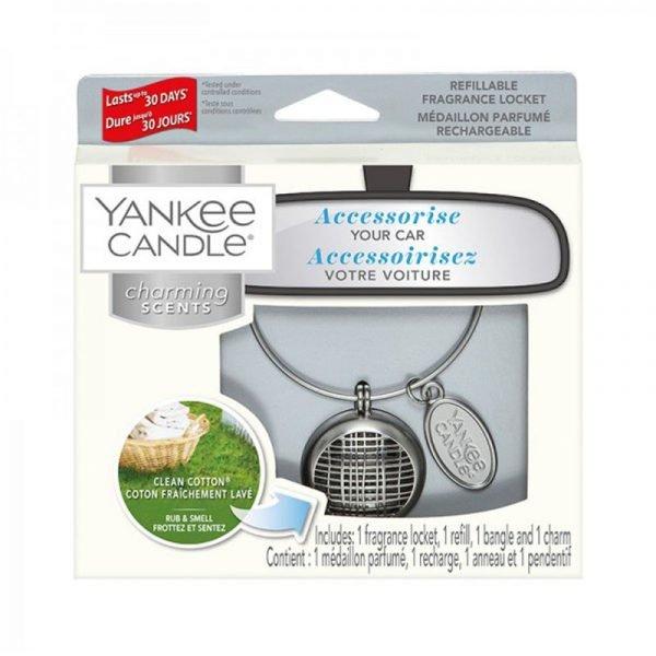 zapach do samochodu, uzupełniacz, Yankee Candle, prezent, upominek, czyste pranie, biały