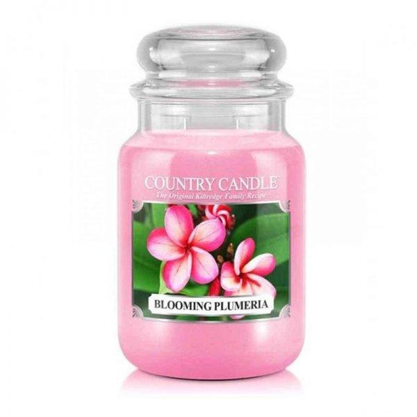 Świeca duża, duża świeca kringle candle, kringle, świeca zapachowa, relaks, odpoczynek, prezent, upominek, różowa, plumeria, kwiaty