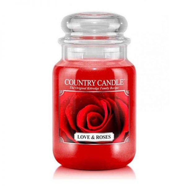 Świeca duża od Country Candle, prezent, świeca zapachowa, urokliwy zapach, wosk, wosk zapachowy, prezent, upominek, róże, czerwony, romans, romantycznie